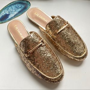 HP🎉🆕🤩Gold Glitter Mules